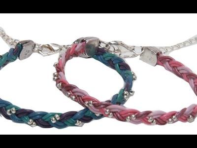 DIY 3 Strand Braided Leather Bracelet with Beads