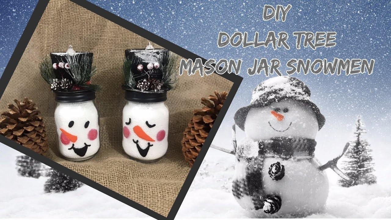 DIY EASY Dollar Tree Mason Jar Snowmen.Dollar Tree Decor