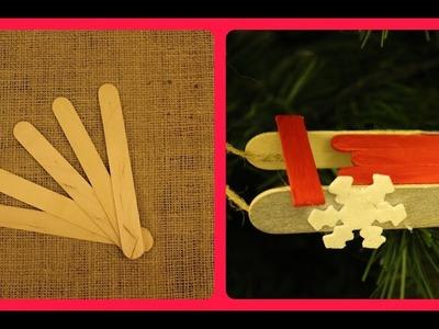DIY : How to Make Christmas Sleigh Ornaments Using Popsicle Sticks