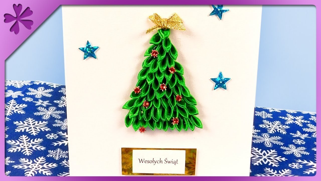 DIY How to make Christmas greeting card with kanzashi Christmas tree (ENG Subtitles) - Speed up #422