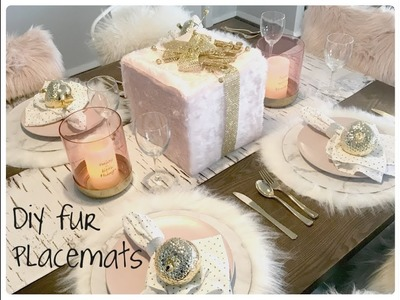 GLAM CHRISTMAS HOME DECOR  DIY FUR PLACEMATS AND TABLESCAPE