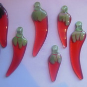 Handmade (MADE TO ORDER) chilli's in fused glass. 23 individual chilli's