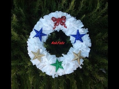 Holiday Wreath Made Out Of Plastic Bags and a Hanger