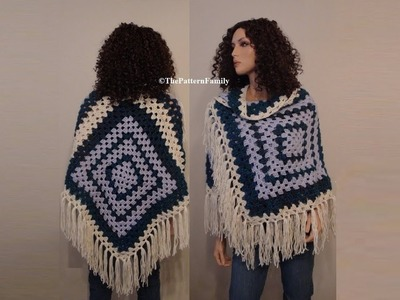 How to Crochet a Poncho Inspired Shawl Pattern #154│by ThePatternfamily