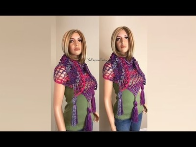 How to Crochet a Triangle Shawl.Scarf Pattern#160│by ThePatternfamily