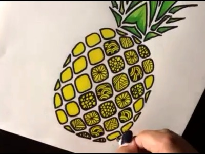 How to Draw Zentangle Pineapple Step by step Speed Draw | Como dibujar una pina con mandalas
