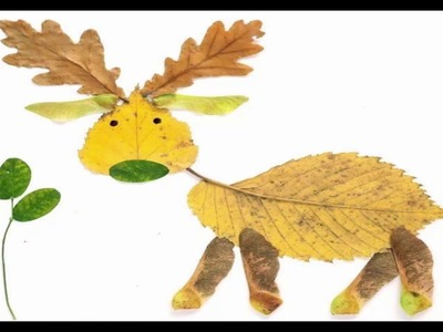 How To Make Animal Pictures With Leaves | Leaf Arts For Kids | Animal Pictures Made From Leaves