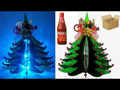 How to make Christmas Tree from Cardboard and ketchup bottle | DIY Christmas Tree | Christmas craft