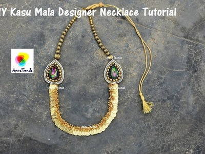 How to make Desiger Necklace at home | Give Away | Kasu Mala Mogapu Necklace
