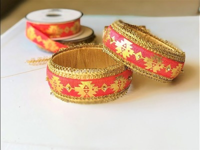 How to make designer silk thread kada bangles using lace ||silk thread bangles making