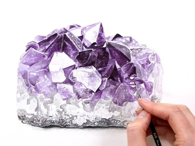 How to paint a realistic shiny Amethyst crystal in watercolour.