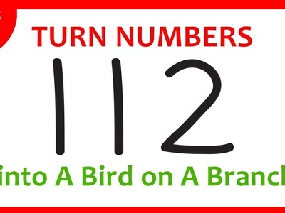 How To Turn Numbers 112 into Cartoon BIRD on A Branch – Learn Doodle Art on Paper for Kids ✔
