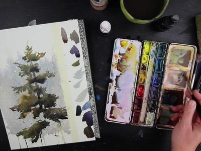 Tree Study in Watercolor by Vinita Pappas