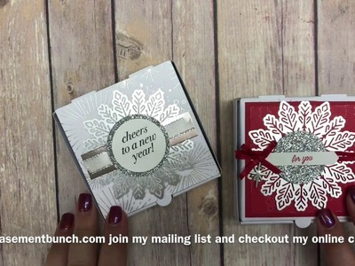 Using the mini pizza boxes by Stampin' Up as a treat holder for teacher gifts