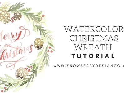 Watercolor Christmas Wreath Tutorial