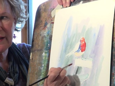 Watercolor painting of a Christmas Robin with Julie Hyde