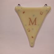 wedding bunting in fused glass Mr & Mrs to hang,in Ivory with bells and horseshoe detail MADE TO ORDER