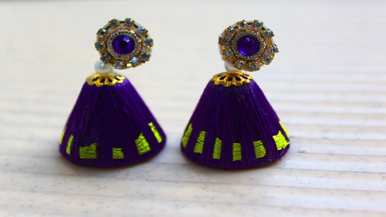Woolen earrings design making tutorials video | Blue woolen crafts easy | Fashion Jhumkas for girls