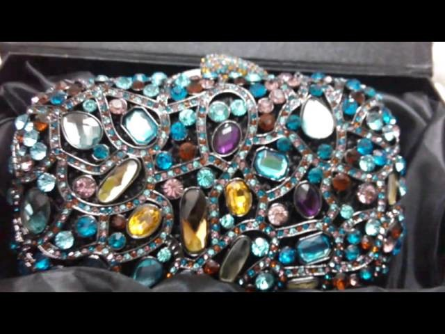 Blue Stone Hand Bags Famous Designer Women Crystal Clutch Evening Purse for Bridal Party