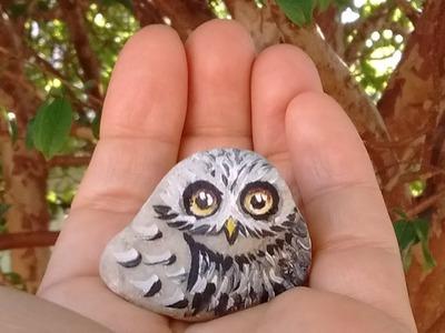 Coruja pintada na pedra para mini jardim. Owl painted on a rock for miniature garden