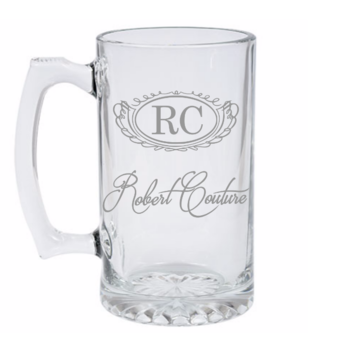 Customized Engraved Beer mug with name and initials