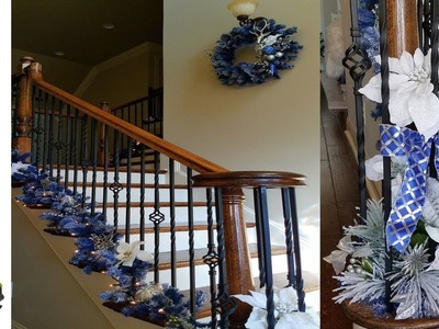 Decorating The Stairs For Christmas With Blue Garland - #3