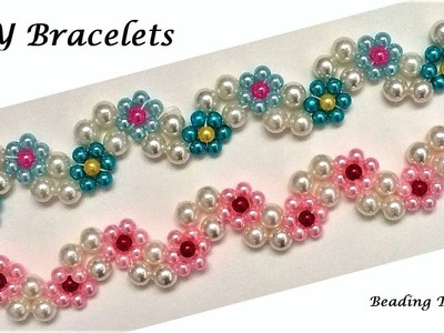 DIY Floral Bracelets. Jewelry Making Tutorial. Beaded Floral Jewelry