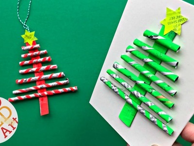 DIY Paper Straw Christmas Tree Ornament & Card DIY - Easy Newspaper DIY Ideas - Recycled Christmas
