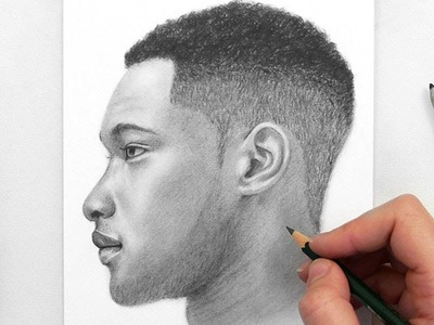 Drawing a Man Side View with Graphite Pencils