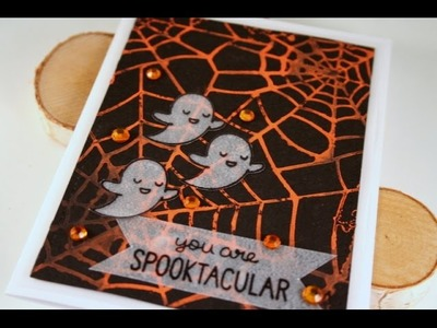 Halloween Card Series 2015 Lawn Fawn Spooktacular with Vellum Ghosts and Chalkola Marker Stenciling