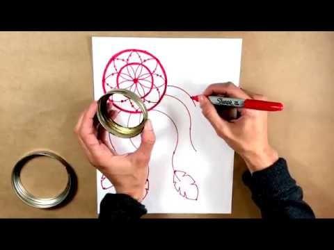 How To Draw a Dream Catcher Tutorial - Using Lids