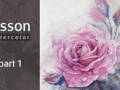 How to Draw a Rose Watercolor. Tutorial. Part 1