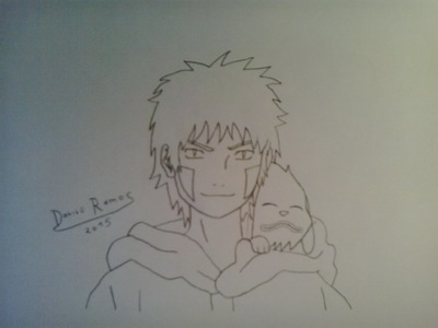 How to draw Kiba and Akamaru