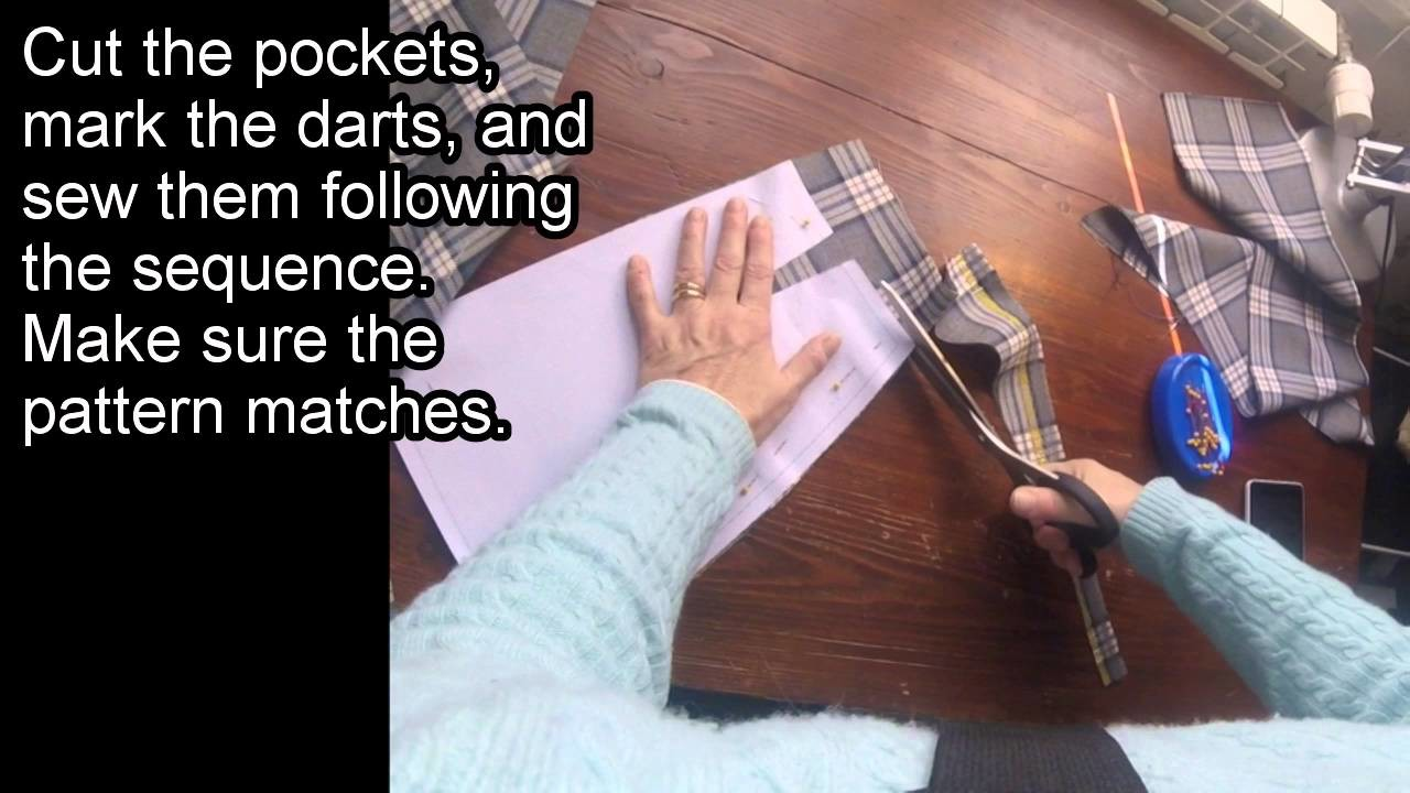 How to make a pencil skirt with pockets. Part 1, front.