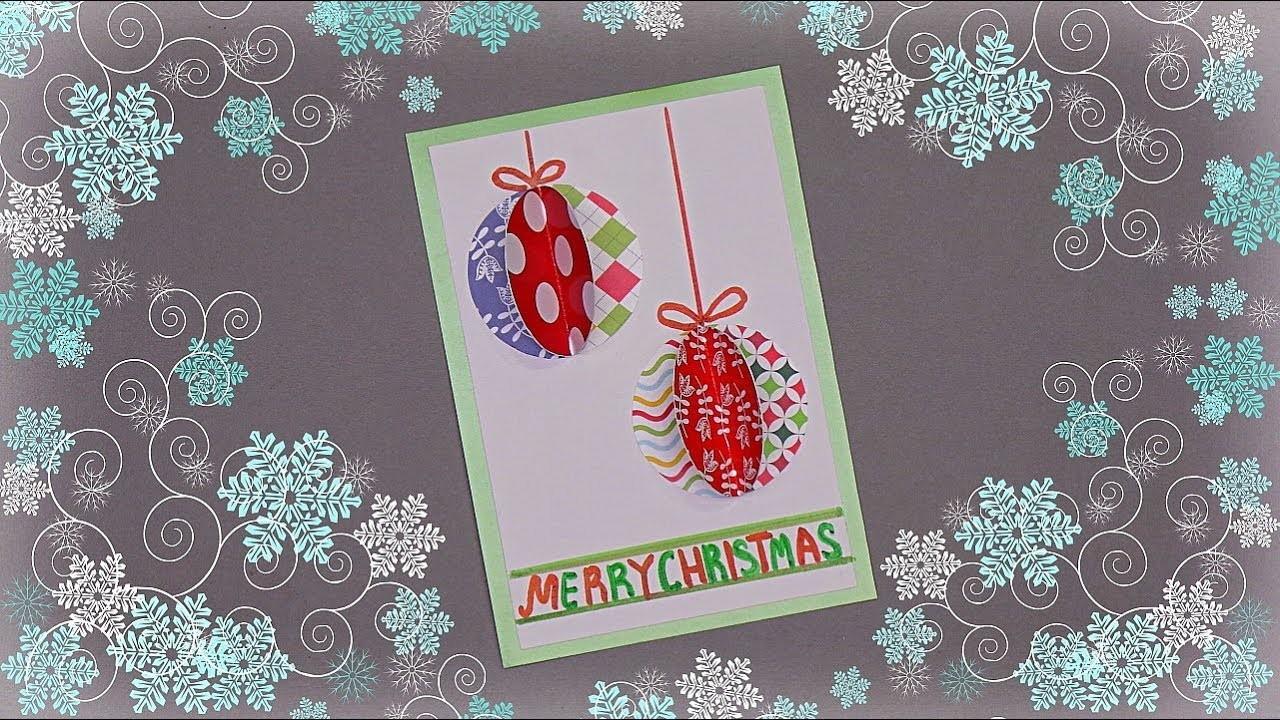 How to Make Simple Christmas Card   Handmade Christmas greeting card making idea   3D Christmas card