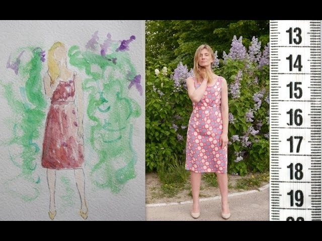 I SEW: Silk sleeveless dress for 5 steps. Genetics of the cut in use.