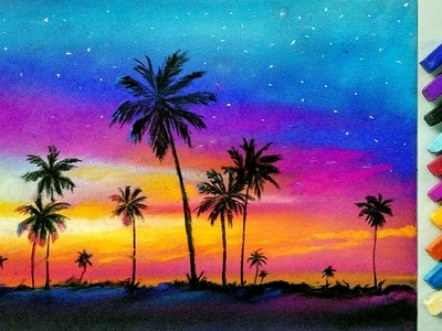 Landscape drawing for beginners with soft pastels - landscape painting