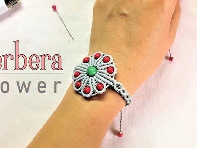 Macrame bracelet tutorial: The Gerbera flower - easy step by step guide