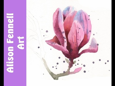 Paint a simple magnolia in watercolor