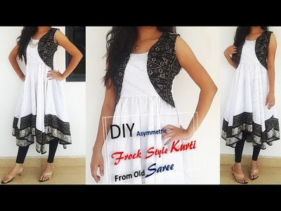 Transform Old Saree To Asymmetric Frock Style Kurti With Attached Koti Cutting And Stitching