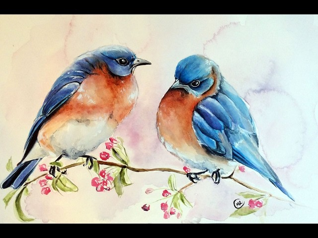 Watercolor Blue Birds Painting Demonstration