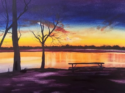 Watercolor Evening in the Park Painting Demonstration