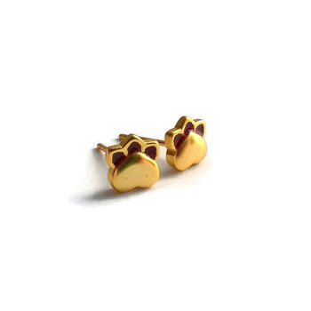 18k gold plated paw earrings, dainty paw earrings, dainty jewelry, 925 sterling earrings, silver and gold earrings, enamel earrings, paws
