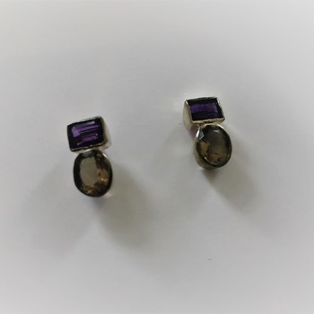 .925 silver  Amethyst with Smoky Quartz Infinity Earrings