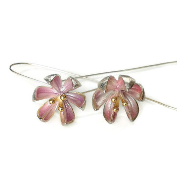 925 silver lotus earrings, blush pink lotus earrings, 925 sterling silver, lotus earrings, dainty earrings, enamel earrings, dainty jewelry