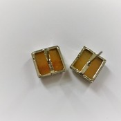 .925 Silver Square Citrine Stud Earrings (Yellow - Yellow), Women's