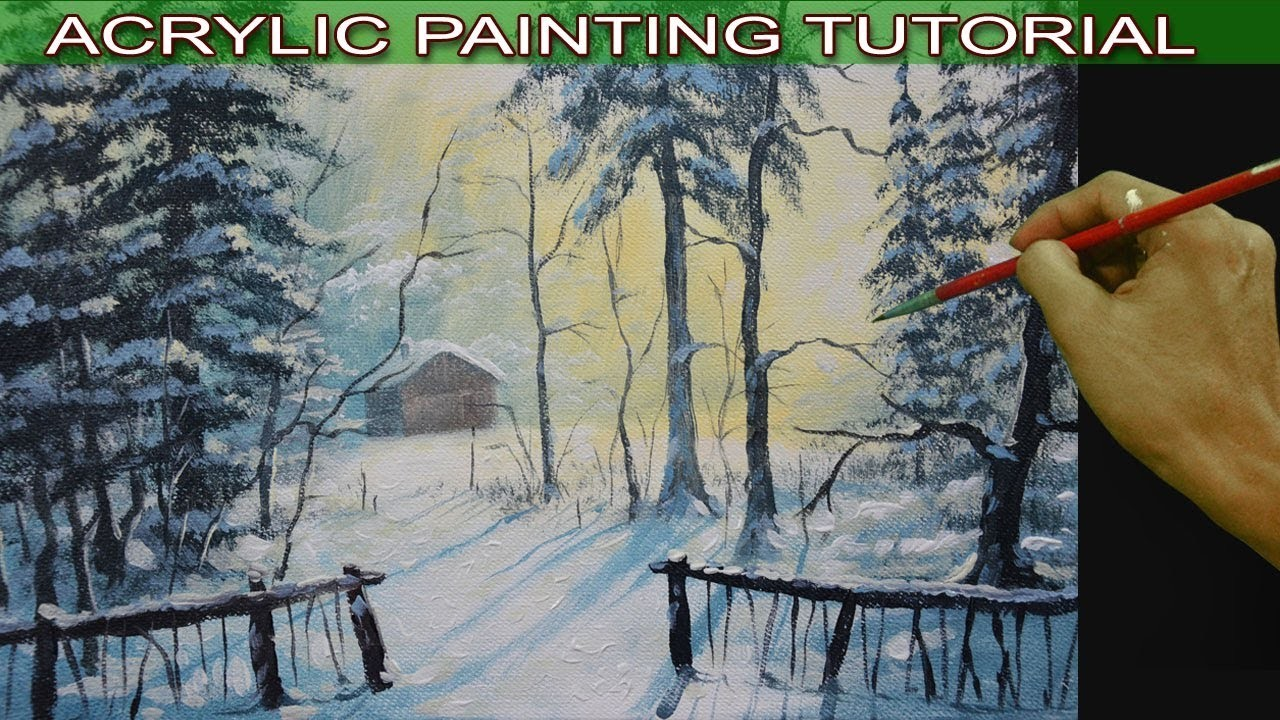 Acrylic Landscape Painting Tutorial Barn in the Snow Forest by JM Lisondra