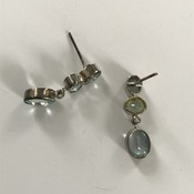 Aquamarine Leverback Earrings in .925 silver