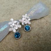 Blush pink wedding earrings, delicate flower earrings, bride jewelry, dainty earrings, wedding accessories, pink turquoise crystal earrings