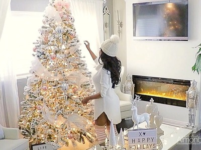Blush pink & white Christmas decorating ideas 2017, Decorate My Tree With Me Rose Gold